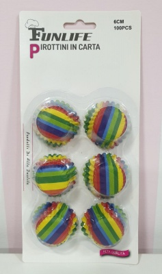 100 MINI PIROTTINI CUP CAKE MUFFIN PIROTTINO ARCOBALENO RAINBOW CUPCAKE COLORATO