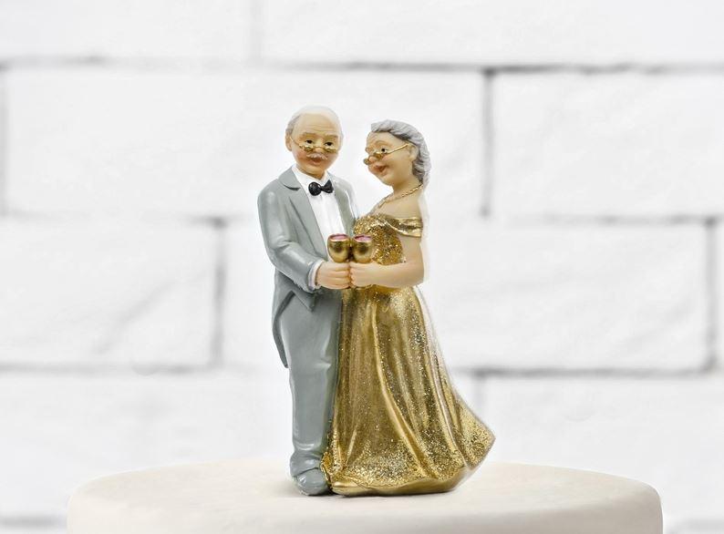 Cake Topper Nozze Oro Sposi 50 Anni Matrimonio Wedding Anniversario